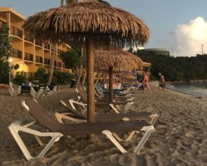 Beach chairs at Emerald Beach Resort on St. Thomas.