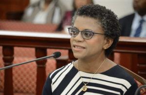 RTPark Executive Director Gillian Marcelle appearing before the Legislature in 2016. (Photo by Barry Leerdam courtesy of the V.I. Legislature)