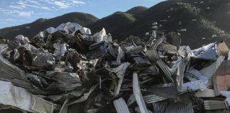 Hurricane debris piled in Coral Bay, St. John.