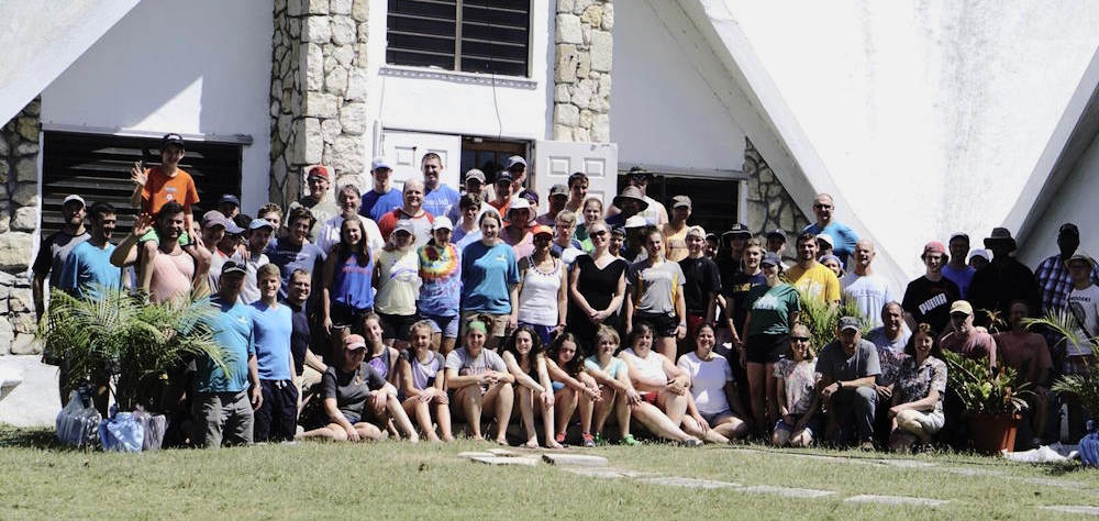 Volunteers from Williston, Vermont at the Sunny Isle Baptist Church, their lodging during a week of hurricane repair work on St. Croix. (Photo submitted by pastor Brad Parker)
