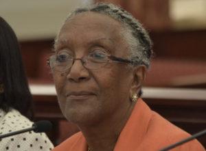 Mary Moorhead appearing before the V.I. Legislature on July 11, 2016. (V.I. Legislature photo by Barry Leerdam)