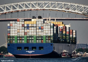 Maersk Shanghai lost 70 to 73 containers in heavy weather off the coast of North Carolina. (Photo © Marcin Kocoj, Tugboat Grafitti 2017, from the GCaptain.com website)