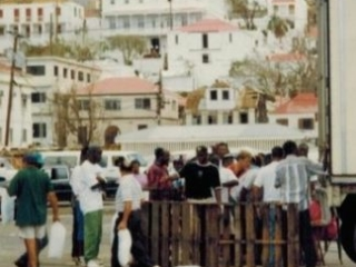 Lining up for ice on St. Thomas
