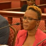 Commissioner of Human Services Felicia Blyden testifies at a hearing Friday