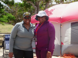 During Easter campign, Jamilah Haarvey Moorehead, who is retired from the military, shares a tent with her 'girly-girly' twin, Vivienne Harvey Pacquette. (Anne Salafia photo)
