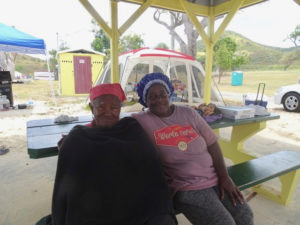 Stephanie Brinkley and her 80 year-old mother, Mercedes Millington. Millington has been camping at Cramer's for 47 years. (Anne Salafia photo)