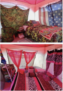 Identical twins Jamilah Haarvey Moorehead and Vivienne Harvey Pacquette do not share identical taste when it comes to decorating their tent for Easter campign. (Anne Salafia photo)