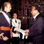 U.S. Ambassador Terence A. Todman meets with Juan Carlos I, King of Spain from 1975 until 2014.