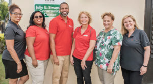 At Flamboyant Gardens in St. Croix, from left, AARP Vice-President Aiyshen Padilla, AARP-V.I. Operations Specialist Sherilyn Pogson, AARP-V.I. State Director Troy de Chabert-Schuster, AARP Regional Vice-President (East and Caribbean) Kelly Clark, AARP CEO Jo Ann Jenkins, AARP Foundation President Lisa Marsh Ryerson. (Photo by Denise Bennerson)