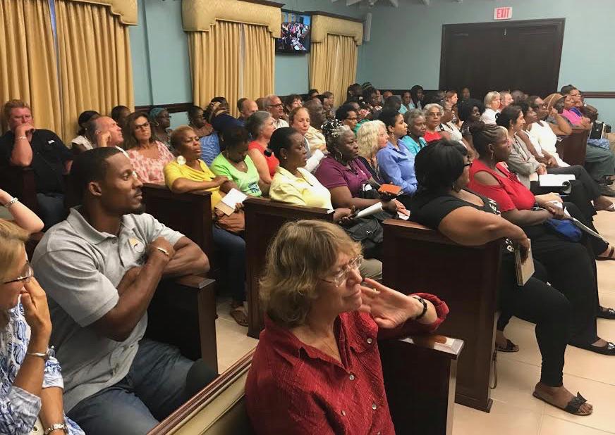 The crowd packs the St. John Legislature Annex for Sen. Smith's town hall on Caneel Bay Resort.