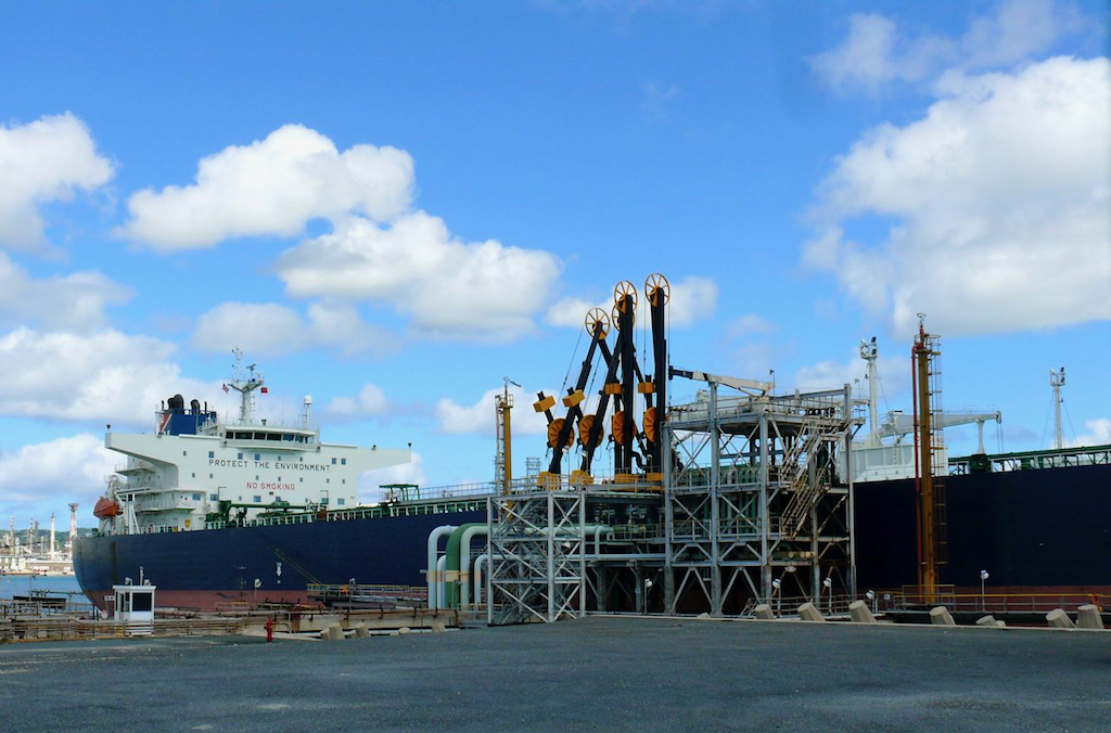 A tanker unloads crude oil at Limetree Bay in 2011, when it was still the Hovensa facility, (Bill Kossler photo)