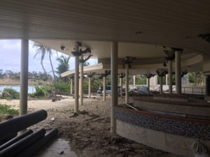 The resort's main restaurant was destroyed by storm surge.