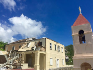 Emmaus Moravian Church in Coral Bay after Hurricanes Irma and Maria.