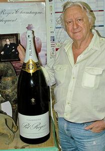 Frank Machover poses with his 'flagship' label, the bubbly served at the recent royal wedding.