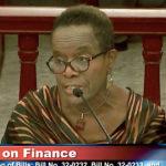 V.I. Director of Banking, Insurance and Financial Regulation Gwendolyn Hall Brady at Friday's hearing on legislation to bring the U.S. Virgin Islands closer to stateside norms for insurance regulation. (V.I. Legislature photo)