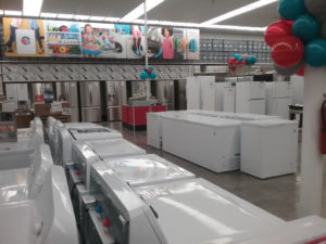Lines of gleaming appliances await shoppers. In the months after the hurricanes the St. Thomas store became the number one Kmart in appliance sales in the entire chain.