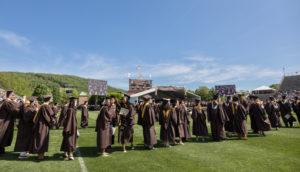 Lehigh University students line up for graduation. (Lehigh University photo)