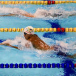 Adriel Sanes competes Saturday at the Eduardo Movilla Aquatics Complex in Barranquilla, Colombia.