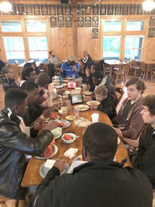 Meals in Snow Pond's dining hall were hearty and the conversations about music rarely stopped.