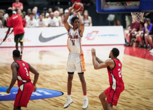 Nicolas Claxton (14) pulls up for a jumpshot in the USVI's most recent game against Canada on July 2nd at the Arena at TD Place in Ottawa, Canada. (Fiba.basketball photo)