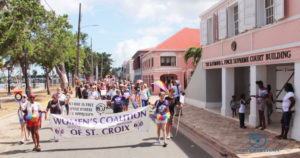 Pride Parade works its way down Strand Street in Frederiksted Saturday. (Photo provided by Johanna Bermùdez-Ruiz and Cane Bay Films)
