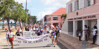Pride Parade works its way down Strand Street in Frederiksted Saturday. (Photo provided by Johanna Bermùdez-Ruiz and Cane Bay Films)