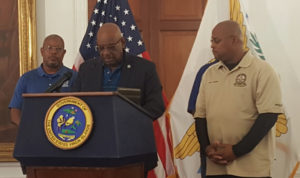 Police Commissioner Delroy Richards Sr. addresses Saturday's news conference.