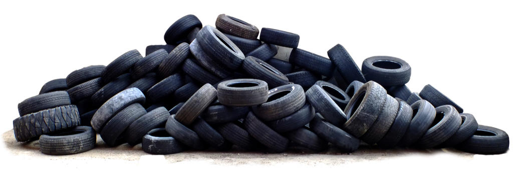 A pile of used tires. (Image from rubbercycle.com)