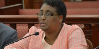 Caroline Fawkes testifies before the Senate Finance Committee. (V.I. Legislature photo)