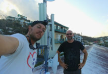 Matt Gyuraki, left, snaps a selfie with Jason Monigold after installing their first communications distribution site in Cruz Bay in the aftermath of Hurricane Irma. Monigold was recently cleared of charges alleging a sex crime in Oregon.