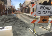 Work continues on the Charlotte Amalie Main Street project.