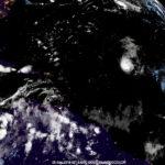 Satellite photo taken at 10:15 p.m. AST Tuesday shows Hurricane Florencein the mid-Atlantic. (NOAA photo)