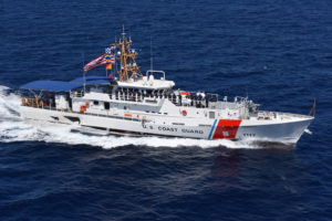 The Coast Guard Cutter Donald Horsley performs sea trials in 2016. The ship, with a top speed of 28 knots and a range of about 3,000 miles, is a part of the Joint Inter-Agency Task Force South. (U.S. Coast Guard photo by Eric D. Woodall)