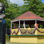 The bust of D. Hamilton Jackson and the gazebo at Grove Place Park were decked out for Bull and Bread Day in 2014, and will be again Thursday. (File photo)