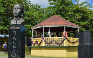 The bust of D. Hamilton Jackson and the gazebo at the Grove Place park were decked out for Bull and Bread Day in 2014, and will be again Thursday. (File photo)