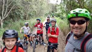 Hutchins and the Good Hope Country Day School Bike Club on a ride in winter 2017. (Photo by Aaron Hutchins)