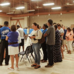 Voters line up for their chance to cast a ballot at the Lockhart polling site. (April Rose Knight photo)