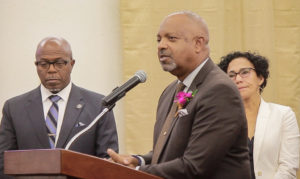 Sen. Tregenza Roach, sponsor of the UVI free-tuition bill, speaks Friday at the Senate while Sens. Myron Jackson, left, and Nereida Rivera-O'Reilly look on.