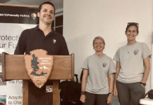 From left, Clayton Pollock, Jessica Stuczynski and Natalie Monnier spoke about Buck Island turtle research at a public talk Thursday in Christiansted.