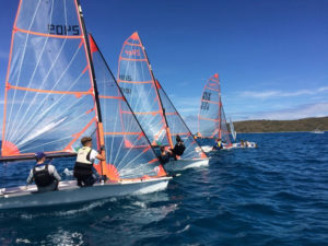 A fleet of 29ers race neck and neck in the 2017 Crucian Open in the Buck island Channel. (Anne Salafia photo)