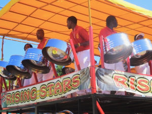 The Rising Stars Youth Steel Orchestra, a fixture in V.I. festivities, keeps the parade rocking. (Anne Salafia photo)