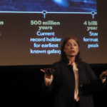 Laura Mersini-Houghton addresses big questions at Prior-Jollek Hall (W. Bostwick photo)