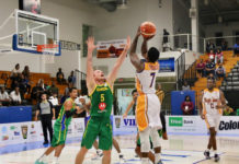 Georgio Milligan of the USVI men's basketball team fires a jump shot in Thursday's game against Brazil.