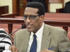 VIHA Director Robert Graham testifies at the Senate Tuesday on the state of V.I. public housing. (Photo by Barry Leerdam for the V.I. Legislature)