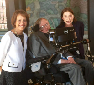 From left, Carol Folt, Stephen Hawking and Laura Mersini-Houghton. (Photo provided by University of North Carolina)
