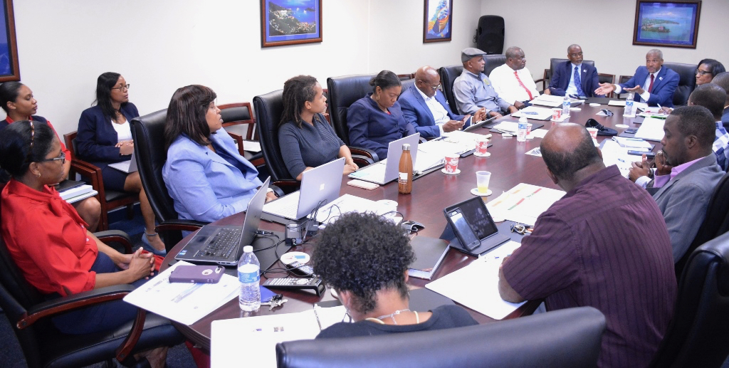 Members of the V.I. Senate and the Economic Development Authority gather around the table in the EDA's conference room Monday. (Submitted photo)