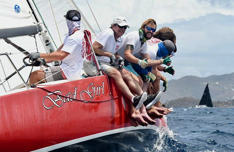 In the CSA Spinnaker Racing 2 class, St. Croix's Mackenzie Bryan drives the J/100, Bad Girl, to a first place finish. (Photo by Dean Barnes, © St Thomas International Regatta)