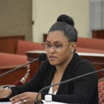Virgin Islands Council on the Arts Executive Director Tasida Kelch testifies before the Senate Finance Committee Tuesday. (Photo by Barry Leerdam for the V.I. Legislature)