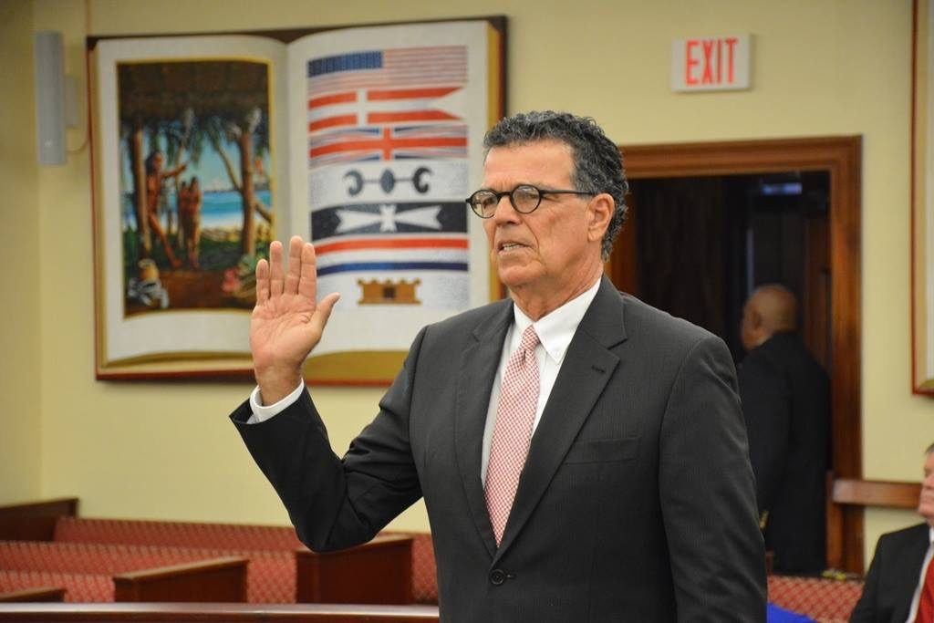 Superior Court Judge Douglas Brady takes the oath before testifying at Wednesday's hearing. (Photo by Barry Leerdam for the V.I. Legislature)