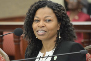 OMB Director Nominee Jenifer O'Neal testifies before the Senate Rules and Judiciary Committee during Wednesday's hearing. (Photo by Barry Leerdam for the V.I. Legislature)